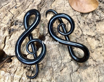 "Solid Color Black G Clef Music Ear Shapes Spirals 10g 8g 6g 4g 2g 0g 00g 7/16"" 1/2"" 9/16"" 5/8""  2.5 mm 3 mm 4 mm 5 mm 6 mm 8 mm 10 - 16 mm"