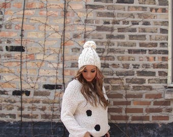 oversized cream cable knit beanie, slouchy bobble pom pom knitted wool hat / Eleanore / Fisherman