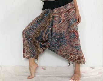 Touch Soft Silk..Blue Red Soft Silk Harem Pants with Flora patterned (HR-589)