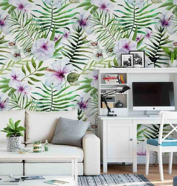 Tropical Hibiscus Watercolor Wallpaper Removable Wallpaper