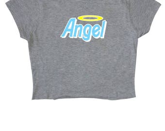 Angel Grey Crop Top ∘ 90s ∘ Retro ∘ Kawaii ∘ Crybaby ∘ Baby Girl ∘ Daddy ∘ Grunge ∘ Baby Pink Blue ∘ Womens Ladies ∘ S M L XL 2XL