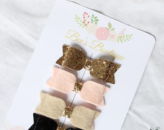gold, pink, black and beige baby bow headband set - birthday gift - baby bows - tiny bows - hair accessories