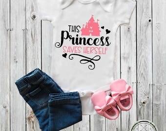 Princess onesie®, Baby Onesie®, This Princess saves herself, strong, sassy baby girl onesie® baby shower gift bodysuit Girl clothing Toddler
