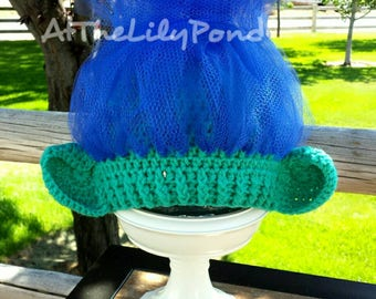 Troll hat, Branch Trolls Hat, Trolls birthday party, Branch Hat, Branch Hair, Trolls Hair, Birthday gift, Trolls Halloween Costume, Branch