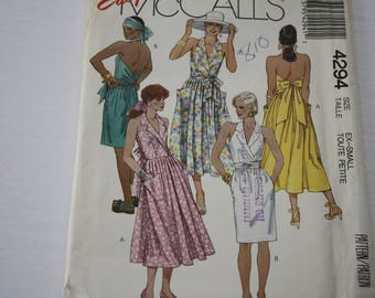 Vintage 1980s EASY Wrap Dress Halter Back /Sun Dress /Summer, UNCUT McCalls 4294, Sleeveless, Wrap Bodice Style