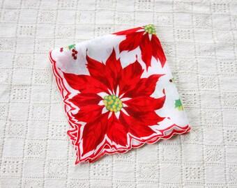 vintage Christmas hankie <> Christmas print handkerchief <>  Poinsettia and holly print cotton Christmas hankie