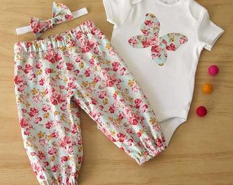 Girls clothing set. Toddler girls rose print set. Baby Butterfly bodysuit and pant set. Girls vintage rose clothing. Baby girls rose set.