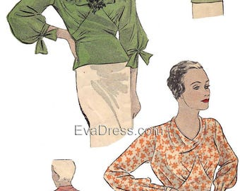 1934 Blouses Pattern by EvaDress