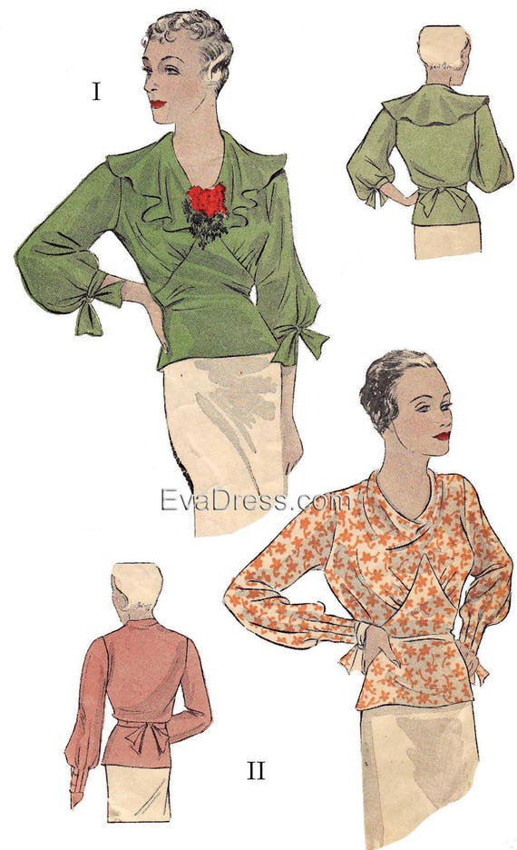 1930s Sewing Patterns- Dresses, Pants, Tops 1934 Blouses Pattern by EvaDress $22.00 AT vintagedancer.com