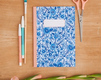 Blue Floral Pattern Notebook | Illustrated A5 Notebook | Delft Pattern Notebook | Floral Print Notebook | Notepad | Journal | Bullet Journal