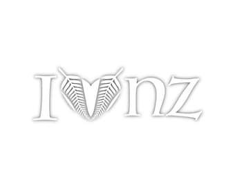 I Love New Zealand Heart Silver Fern NZ Travel Country Kiwi Custom Vinyl Decal