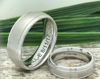8mm His and Hers Titanium Wedding Ring, Personalize Titanium Ring, Titanium Couples Ring Sets, Anniversary Band, Promise Ring