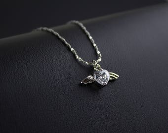 Angel's Wings, CZ Heart Pendant Necklace, Winged Heart Necklace, Diamond Heart Necklace, Silver Angel Wing, TIMELESS GIFT, Love Jewelry
