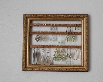 Wall Mount Jewelry Organizer   Hanging Earring Organizer   Jewelry Holder Frame   Hanging Earring Organizer   Hanging Jewelry Display