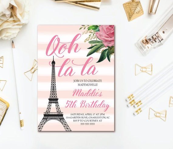 Paris Birthday Invitation French Invitation Girls Birthday