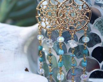 Gold Mermaid Dreamcatcher Earrings - Boho Jewelry - Boho Beach - Mermaid Jewels - Mermaid Earrings - Boho Earrings - Gifts For Her