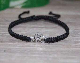 Om Bracelet,Hemp,Good Luck String Bracelet, Adjustable Drawstring fit all, Ohm ,Man, Woman,Yoga,Pray ,Protection ,Meditation ,Wish Bracelet