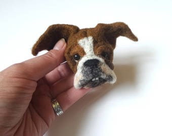 English bulldog brooch Needle felted animal pin Brooch animal Custom dog caricature Felted dog Bulldog gift