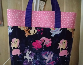 Girls My Little Pony Mermaid Tote Bag Library Bag Ladies Tote Preschool Bag