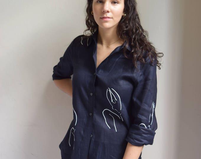 Meridian Woman Navy Linen Shirt