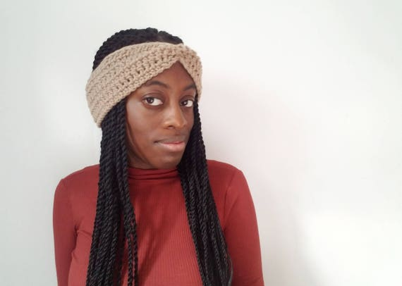 Soft Taupe Winter Headband - Just Because Gifts - Crochet Womens Headband - Gift Ideas for Her - Crochet Ear Warmer - Gifts for Her Under 30