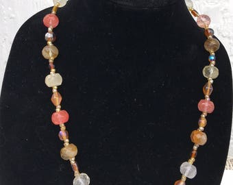 Pink and Gold Beaded Matinee Necklace