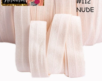 """5/8"""" inch Nude #112 FOE Fold Over Elastic - Solid Color - By the Yard- Shiny DIY For Headband Neutral"""