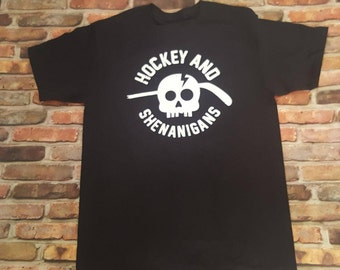 Hockey and Shenanigans shirt. Fun Hockey shirt