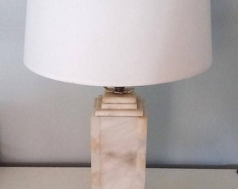 Vintage Alabaster Column Table Lamp Marble Pillar Midcentury Geometric Stacked Stone Hollywood Regency Art Deco Nouveau