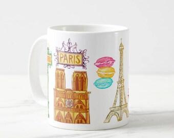 Coffee Mug Paris France Coffee Cup - Paris Mug - Notre Dame - Eiffel Tower -  Arc de Triomphe Mug