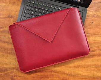 Red Leather Macbook Pro 13 sleeve, 13 inch laptop bag, laptop sleeve case,laptop sleeves, macbook pro sleeve, macbook sleeve, laptop case