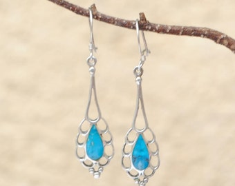 Turquoise earrings and sterling silver vintage dangling