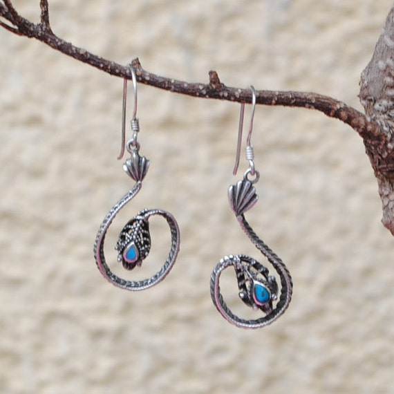 Sterling silver snakes earrings and turquoise vintage