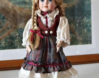 Collectible doll Vintage doll Girl doll Porcelain Doll Handcrafted doll Edwardian Blue eyes doll Girl gift German Folk Festival gift for her