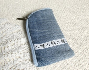 Gift for Dog lover gift Phone wallet iPhone 6 case iPhone 7 case iPhone pouch Navy blue jean Blue gift Dog pouch Xmas gift for girlfriend