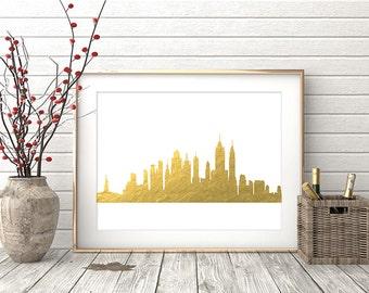 New York Print, New York Wall Art, New York Skyline, New York City Gold Foil Texture, Modern Wall Art, Gift, Home Office Decor Printable Art