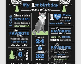 Wolf / Birthday / Chalkboard / Sign / Printable / Boy / 1st / Board / Poster / 2nd / woodland / animals / any age / gray / blue / CWolf1