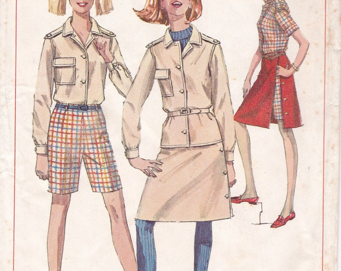 FREE US SHIP Simplicity 7260 Sewing Pattern Vintage Retro 1960s 60s Jacket Skirt Bermuda Shorts Uncut Size 10 Bust 31 , 9 Junior Bust 30.5