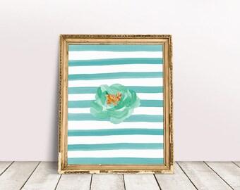 Flower Art | Floral Wall Art, Stripe Printable, Boho Floral Print, Watercolor Floral, Nursery Wall Art, Digital Download, Printable Poster