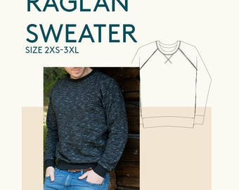 Sewing pattern for mens sweatshirt|sweatshirt PDF sewing pattern for Men|Mens PDF pattern raglan sweater|Adult apparel sewing pattern