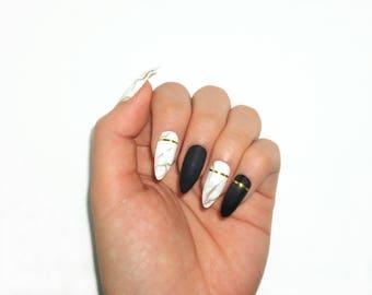 Marble Gel Nails / Fake nails, press on nails, false nails, nail art, gift women, girlfriend, birthday, party, formal, kawaii, designer