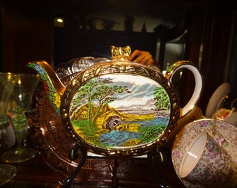 The Ole Mill Sadler Teapot, Barrel Shaped, Gold Gilt, Country Scene River and Thatched Roof House, Staffordshire England