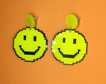 Kawaii pixelated emoji smiley face acrylic earrings