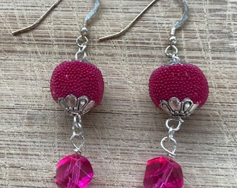 Beaded earrings, Pink earrings