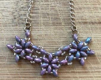 Beaded Necklace, Beaded Flower Necklace