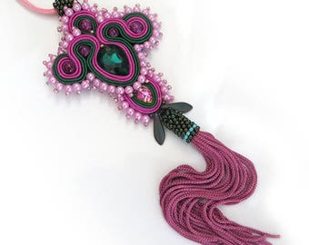 Valentine's gift, Soutache necklace Pink necklace pendant tassel necklace Pink handmade necklace Embroidered necklace pink Soutache jewelry