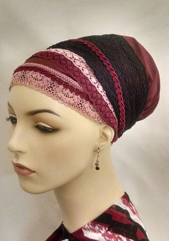 Rows of lace sinar tichel, apron tichels, chemo scarves, head scarf