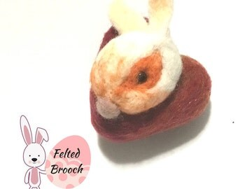 Easter Bunny Brooch, Needle Felted Designer Brooch, Versatile Pendant or Fridge Magnet, Keepsake Gift, Bunny on a Felted Heart, Easter Gift