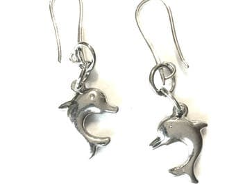 Silver Dolphin Earrings, Antique Silver Dolphin Earrings, Gift for Her, On Trend Stylish Earrings, Tiny Dolphin Drop Earring Gift