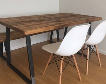 Vintage Industrial Rustic Reclaimed Plank Top Dining Table with Triangle Steel Base (Handmade UK)